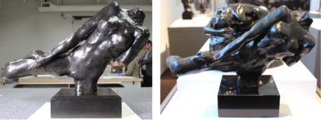 Flying Figure (1890). On the left we see a version of Flying Figure (1982.304) that is two times as large as the Flying Figure (1970.134) on the right. These were both cast by the George Rudier foundry but 10 years apart, and so it may be interesting to see how composition and detail differs between them. Photos taken by Oliver Wang.