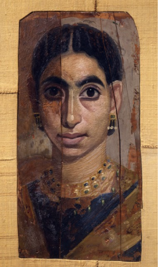 Portrait of a Young Woman. 2nd-3rd century. Egypt. Artist unknown. Cypress wood and pigment in wax. Cantor Arts Center.