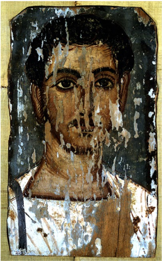 Portrait of a Young Man. 2nd-3rd century. Egypt. Artist unknown. Tempera over gesso on wood. Cantor Arts Center.